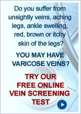 Click here for free vein screening - find out if you have varicose veins or a hidden vein problem